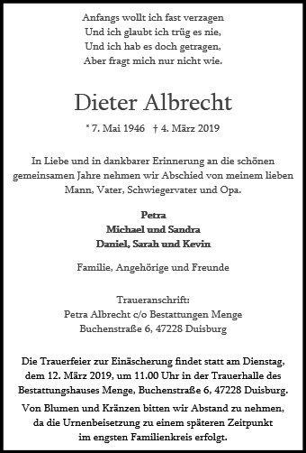 Gedenkseite Fur Dieter Albrecht Menge Gruppe